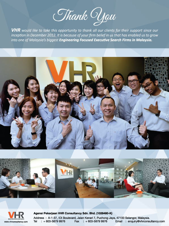 VHR full page advertisement to thank our clients for their support.
