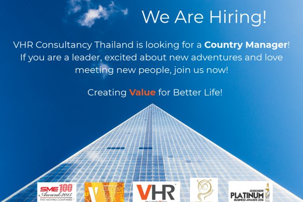 A big 'wave' to talents from Thailand! VHR Consultancy Thailand will start operating by the 1st quarter of 2018 and we are currently looking for a Country Manager to lead our team in Bangkok!