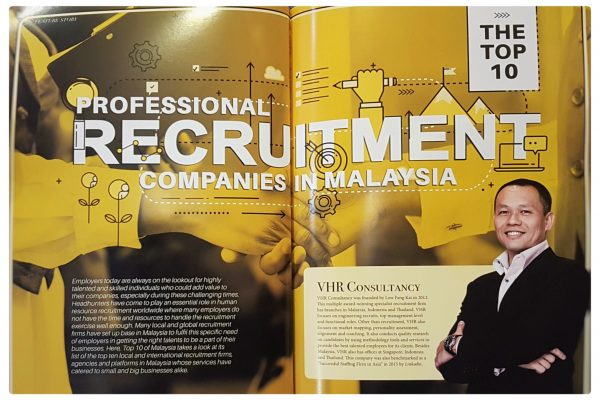 We are excited to share that VHR Consultancy is being featured in The Top 10 of Malaysia magazine as one of the top 10 professional recruitment companies in Malaysia! A big 'thank you' to RHA Media Sdn Bhd for featuring us!