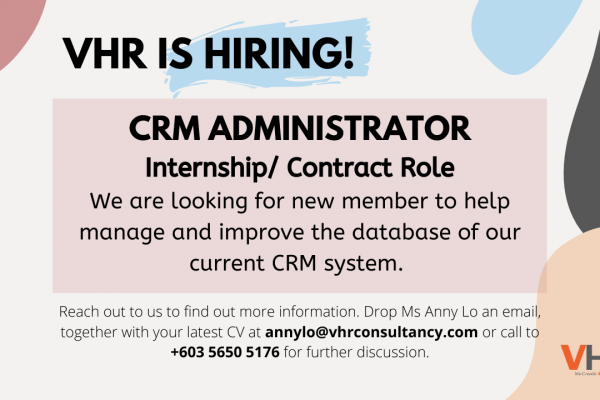 VHR is hiring! We are looking to hire a CRM Administrator to join the team.